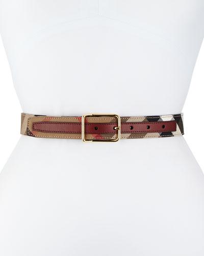 Upshall Check Canvas Belt, Mahogany Red