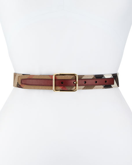 Burberry Upshall Check Canvas Belt, Mahogany Red