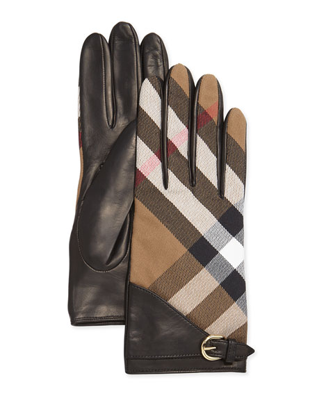 Burberry House Check Kat Gloves, Black