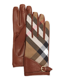 House Check Kat Gloves, Brown