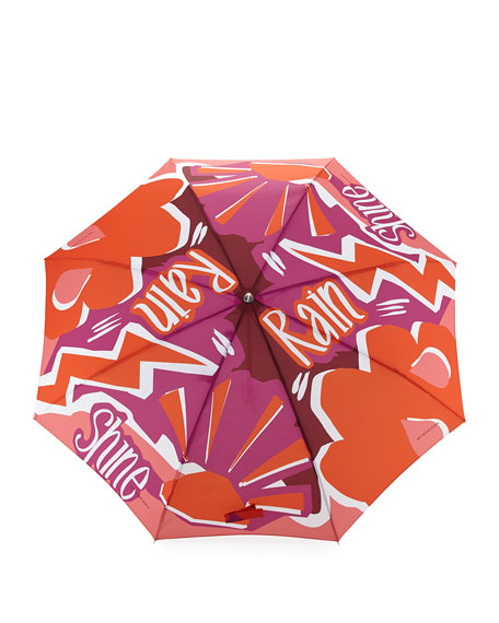 Trafalgar Check Packable Folding Umbrella, Coral