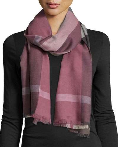 Luxe Fine Check Cashmere Scarf, Dusky Heather