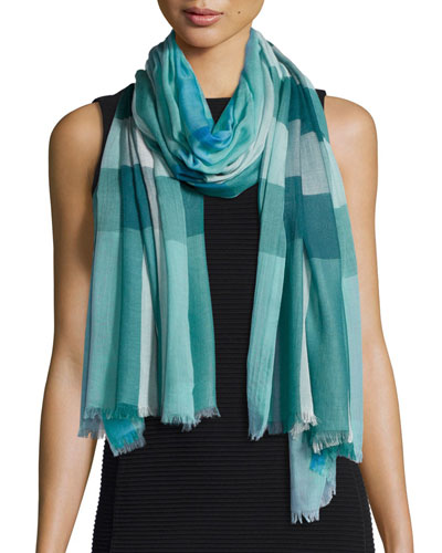Sheer Mega Check Scarf, Peridot Blue