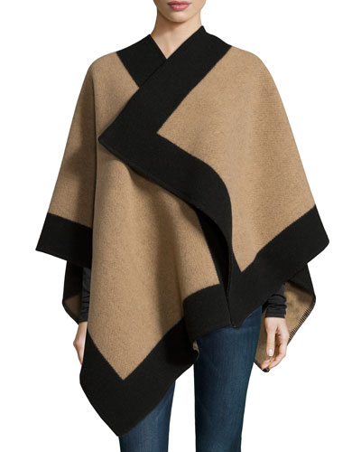 Color-Border Cashmere-Blend Cape, Camel