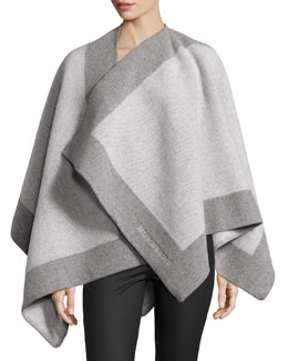 Color-Border Cashmere-Blend Cape, Ivory