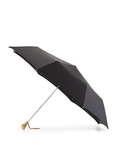 Skull Folding Umbrella, Black/Golden