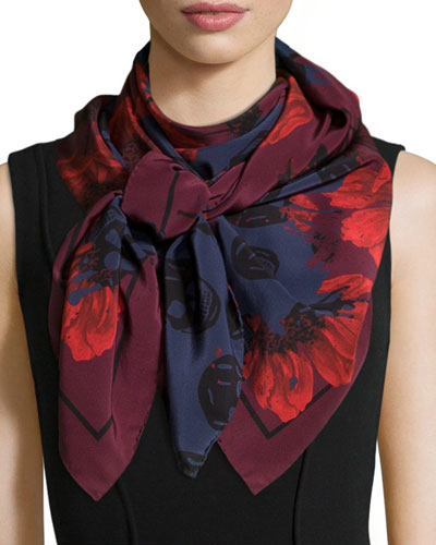 Floral & Skull Printed Scarf, Red/Blue
