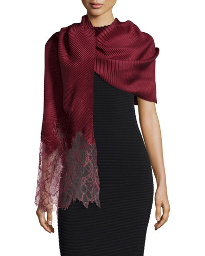 Plisse Silk Stole w/Lace Border