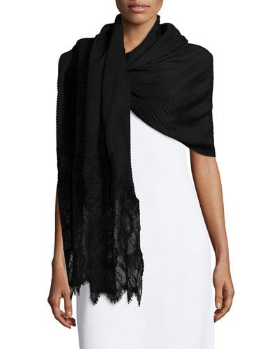 Cashmere Plisse Stole w/Lace Ends, Black