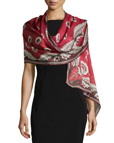Leaf-Print Silk Stole, Black/Red