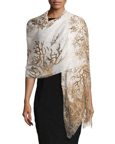 Coral-Print Lace-Trim Stole, Ivory