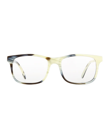 Rome Square Acetate Fashion Glasses, Zebra Horn