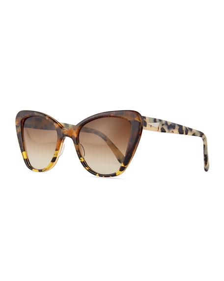 Eyeglass Frames Venice Italy : Prism Venice Acetate Cat-Eye Sunglasses, Amber Tortoise