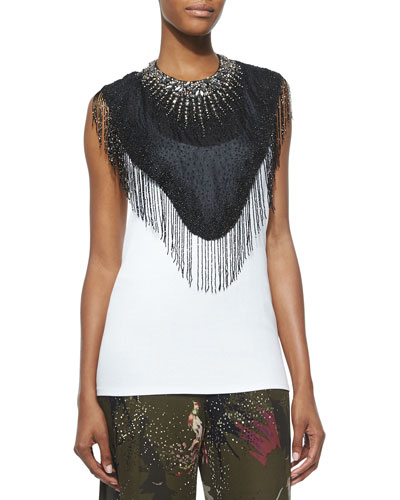 Beaded Fringe-Trim Neckpiece