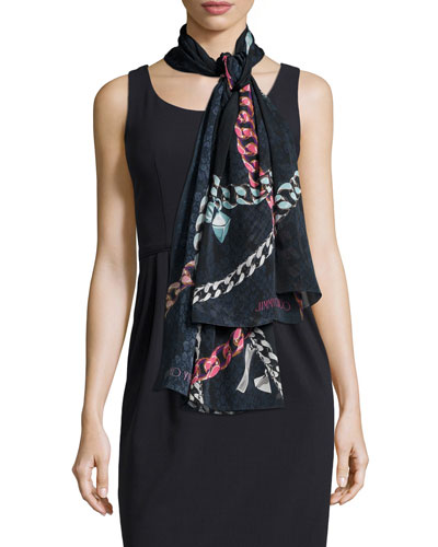 Chain-Print Stole, Blue/Black