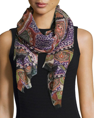 Dhely Mixed-Print Cashmere Scarf
