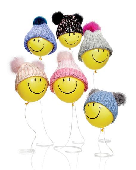Eugenia Kim Rain Hat with Fur Pom Pom, Gray/Pink