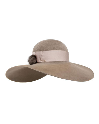 Honey Velour Wide-Brim Hat w/ Fur Pom-Pom, Brown