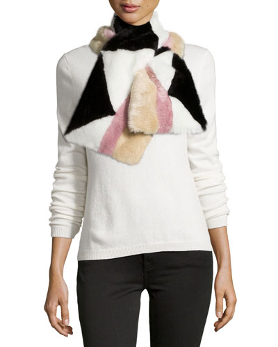 Addison Geometric Faux-Fur Pull-Through Scarf, Black/Pink
