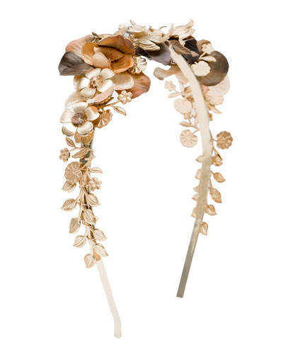 Iris Floral Cocktail Headband, Gold