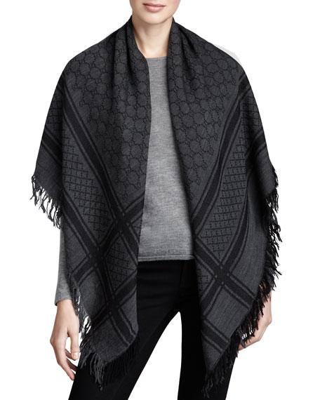 Gucci GG Pattern Shawl, Graphite/Black