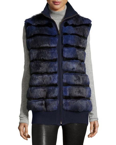 Tasha Tarno Rabbit Fur Knit-Trim Vest, Navy