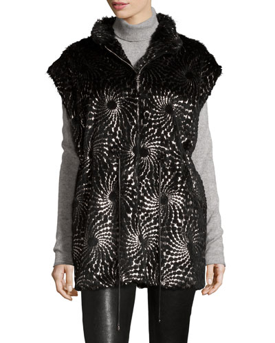 Foiled-Overlay Rabbit Fur Vest, Black/Silver
