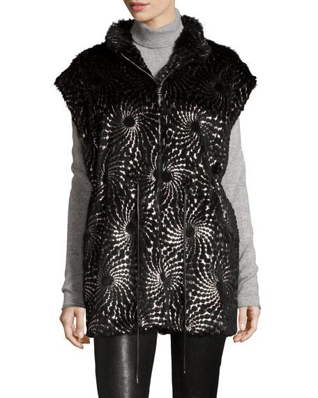 Tasha Tarno Foiled-Overlay Rabbit Fur Vest, Black/Silver