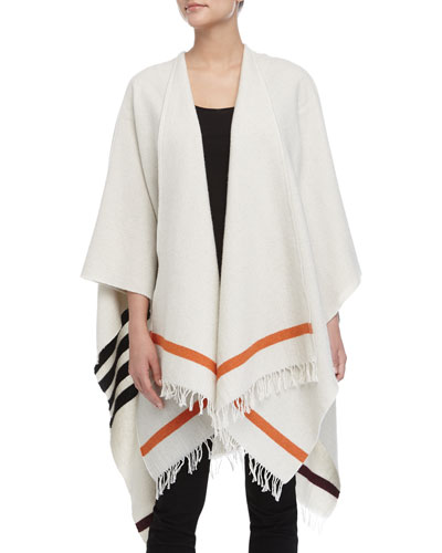 Ines Stripe-Border Cape, Cream