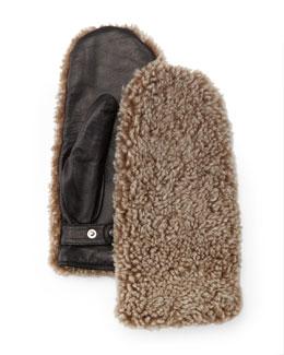 Shearling Fur Mittens, Natural