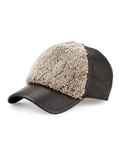 Marilyn Leather & Shearling Fur Baseball Cap, Natural