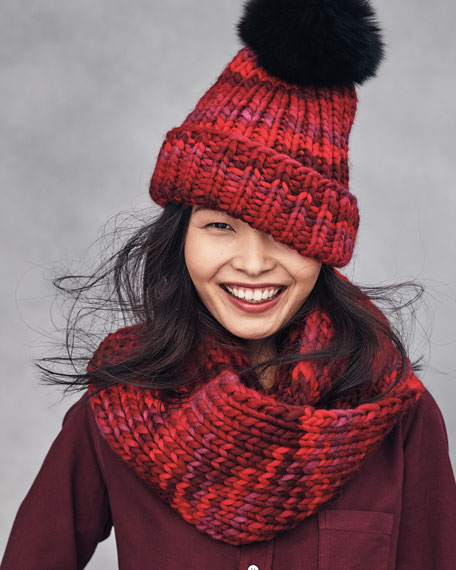 Rain Beanie with Fox Fur Pom-Pom, Red