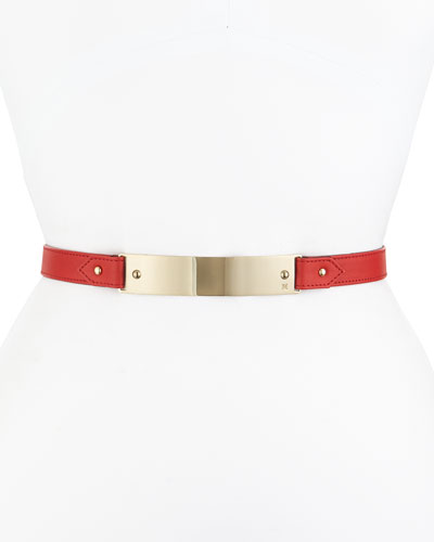 Leather Front-Plaque Belt, Red