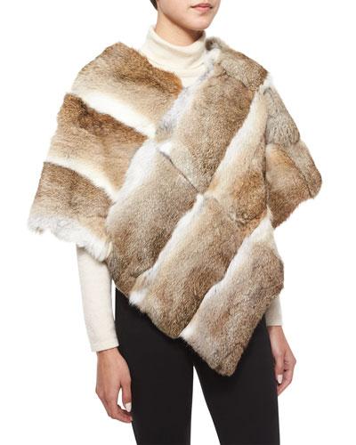 Goma Rabbit Fur Poncho