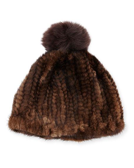 Adrienne Landau Knit Mink Hat w/Fox Pom-Pom, Brown