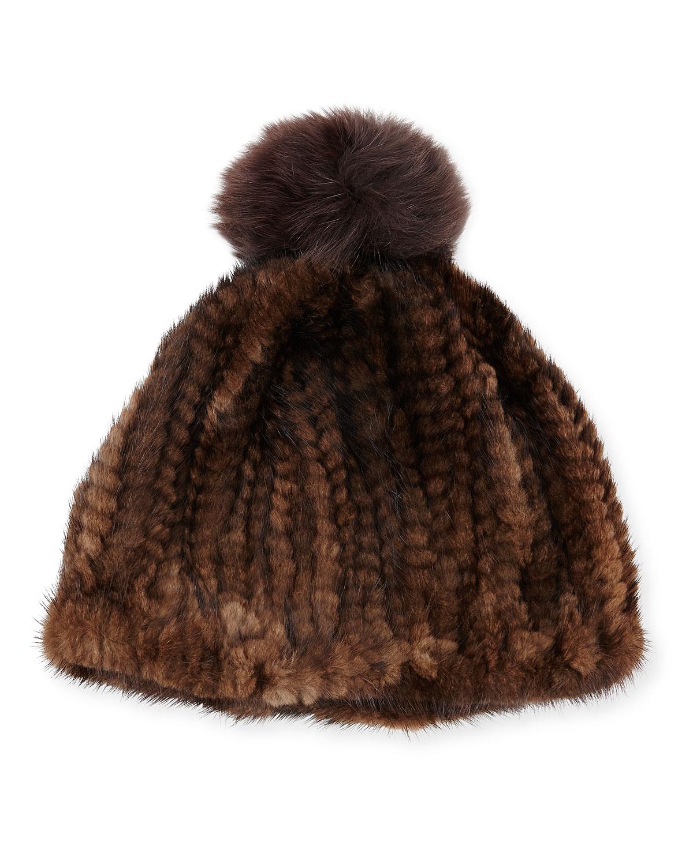 9272fa976a4 Adrienne Landau Knit Mink Hat w Fox Pom-Pom
