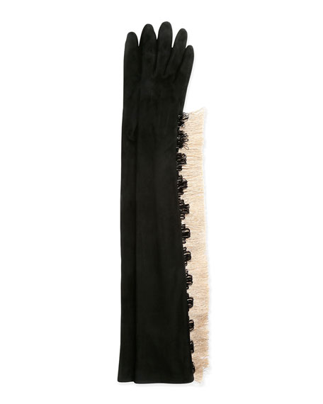 Lanvin Long Gloves w/Fringe, Black