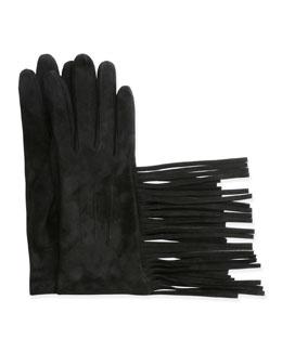 Suede Gloves w/Fringe, Black