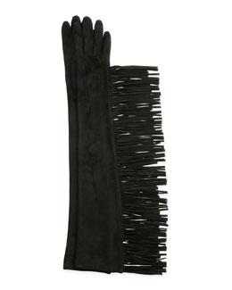 Long Suede Gloves w/Fringe, Black