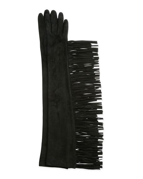 LanvinLong Suede Gloves w/Fringe, Black