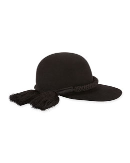Long-Brim Hat w/Tassel Trim, Black