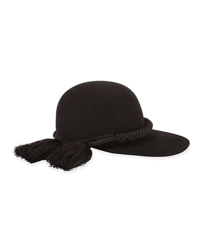 Long-Brim Hat w/Tassel Trim, Black