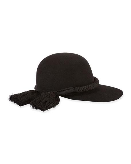 Lanvin Long-Brim Hat w/Tassel Trim, Black