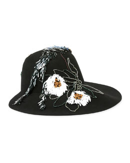 Floral-Embroidered Hat, Black