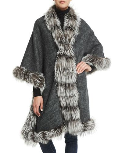 Cashmere Reversible Fox Fur-Trim Cape, Gray/Brown