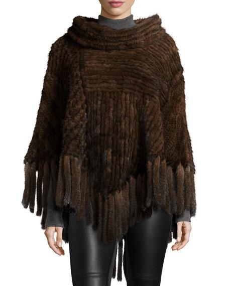 Belle Fare Mink Fur Cowl-Neck Fringe Poncho, Brown