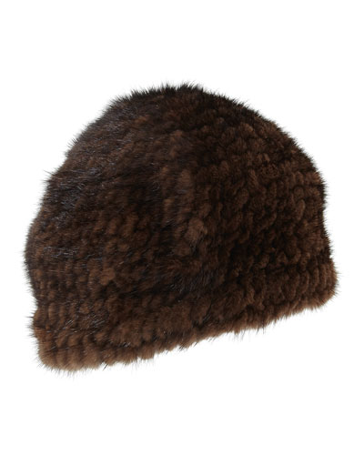 Knitted Mink Fur Beret Hat