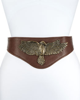 Buckle Bunny Leather Eagle Belt, Chocolate