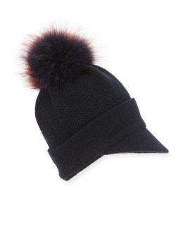 Knit Beanie Hat w/Fur Pom-Pom, Navy