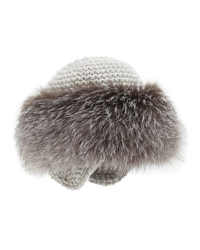 Cashmere Knit Hat with Fox Fur Brim, Gray